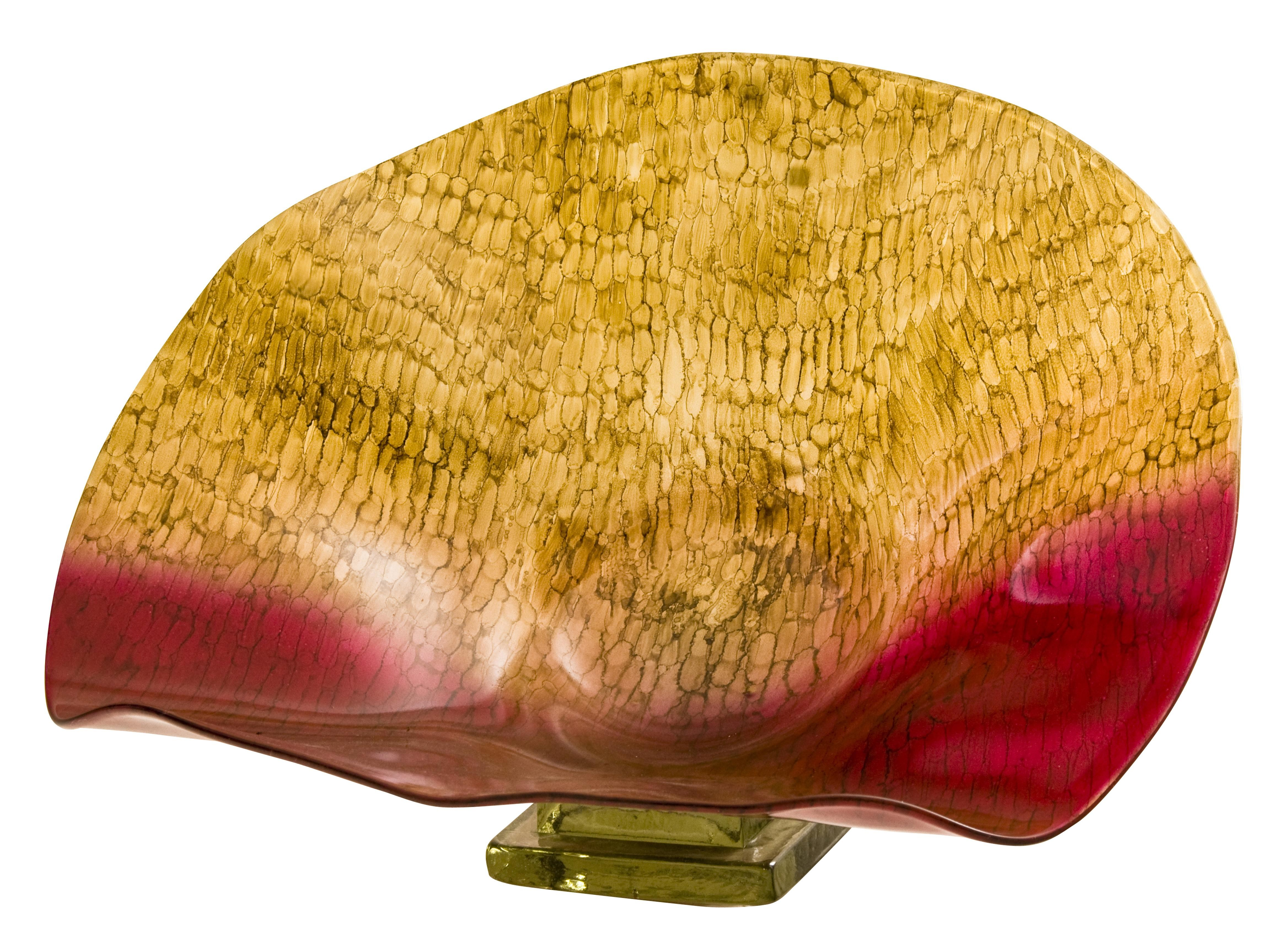 Handmade Blown Glass Seashell Bowl  with Scaled in Red and Caramel finish