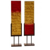 Handmade Glass Two Panel Set W/Bases with Scaled in Red and Caramel finish