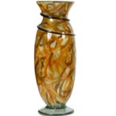 Handmade Blown Glass Flower Urn with Vine in Orange Shades finish