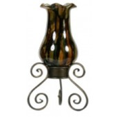 Handmade Blown Glass Hurricane Vase with Iron Stand with Dark Multicolor Shades finish