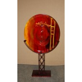 Handmade Blown Glass Standing Plate with Iron Stand with Red with Yellow Inscriptions finish