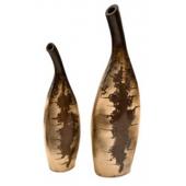 Handmade Decorative Ceramics (Mexican Clay) Set of 2 Bule Jugs in Brightly Brown Dark Finish