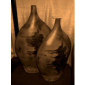 Handmade Decorative Ceramics (Mexican Clay) Set of 2 Vases in Brown Finish