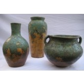 Handmade Decorative Ceramics (Mexican Clay) Set of 3 San Miguel Vases in Green and Brown Finish