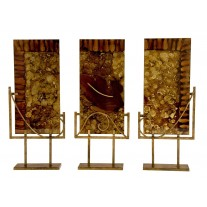 Handmade Glass Set of 3 Sculptural Panels with Iron Stands with Snuff in the Autumn finish