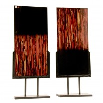 Handmade Blown Glass Set of 2 Sculptural Panels with Iron Stands with Redish Black and Gold finish